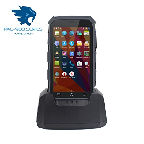 PAC-5000 4G Robuuste Android 5.1 PDA Handheld Computer, WIFI, GPS, CAMERA, HF13.56MHZ, CRADLE, Standard Version Black & Grey & 2D Barcode Scanner