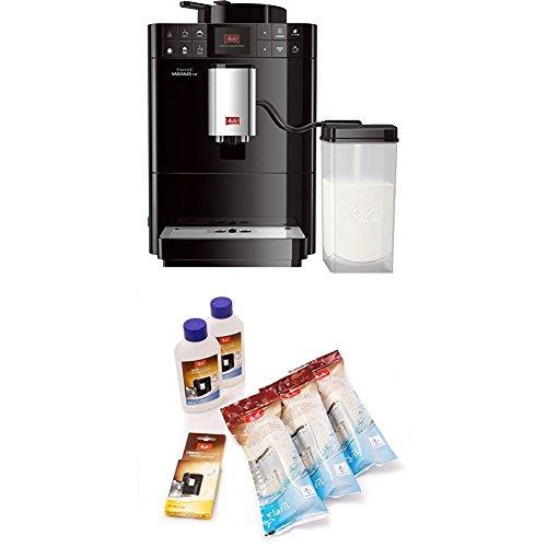 Melitta Caffeo Varianza CSP F570-102, Kaffeevollautomat mit Milchbehälter, One Touch Funktion, Schwarz + Melitta 6er Pflegeset für Kaffeevollautomaten, Wasserfilter, Flüssigentkalker, Reinigungstabs