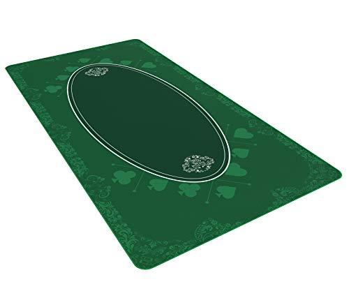 Bullets Playing Cards Universal Tischdecke für Brettspiele, Kartenspiele und Gesellschaftsspiele - Unterlage grün in 180 x 90 cm für den eigenen Spieletisch - Deluxe Spieltuch – Spielteppich
