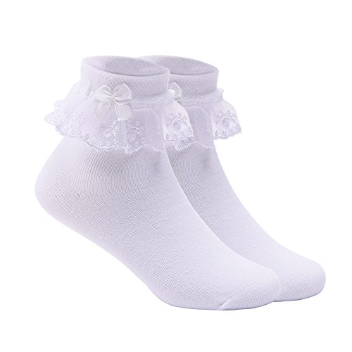 Pinzhi Baby Girls Cheville Dentelle volants volants Mignon Coton Chaussettes Princess Big Bow Mode (größe1)
