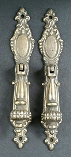 2 Lg.Ornate Vertical Teardrop Brass Handle Drawer Pulls 5 7/8' #H18