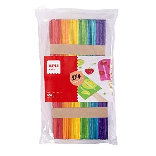 APLI Kids 17453 - Palos Polo de madera en colores surtidos 500 u. formato MAXI