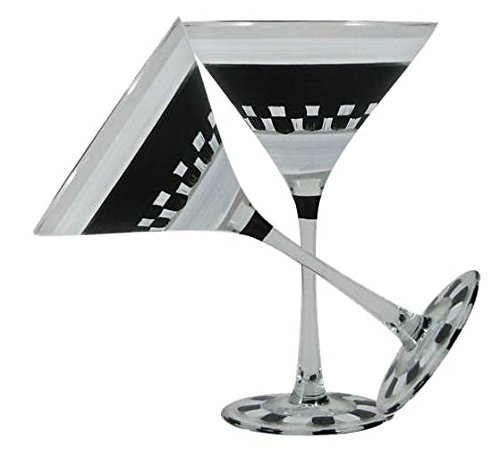Golden Hill Studio Hand Painted Martini Glasses Set of 2 - Black and White Checkered Chalk Collection - Painted Glassware by USA Artists - Unique and Decorative Martini Glasses, Personalize with Chalk