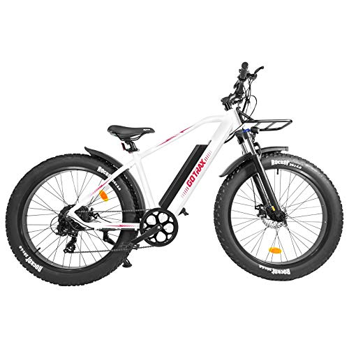 GOTRAX 26inch Electric Bike Fat Tire with 48V 12.5Ah Removable Battery, 500W Powerful Motor up 20mph, Shimano Professional 7 speed Gear,Equipped with Front Shelf and Dual Fenders for Snow Beach(White)