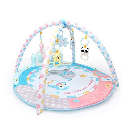 Baby Play Mat Aktivitäts-Fitnessstudio mit Musik und abnehmbarem Klavier, Super Soft Foot Gym Teppich Fitness-Rack mit 5 Baby-Aktivitätsspielzeug