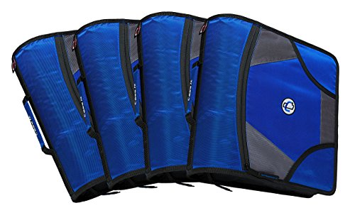 Case-it King Sized Zip Tab 4-Inch D-Ring Zipper Binder with 5-Tab File Folder, Blue, Case of 4 (D-186-C-BLU)
