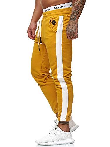 OneRedox Herren Jogging Hose Jogger Streetwear Sporthose Modell 1211 (M, Ocker)