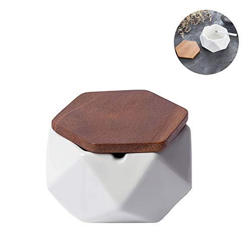 NEDTO Aschenbecher für Draußen mit Deckel, Keramik Windaschenbecher Geometrische Deko Sturmaschenbecher für Couchtisch Klein Dekoration Wohnung Schlafzimmer Balkon (Weiß)