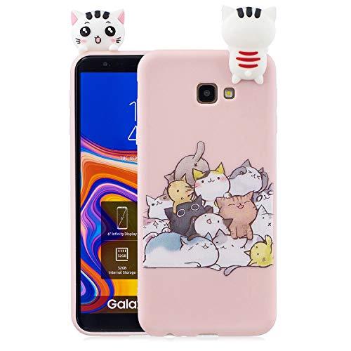Yobby Hülle für Samsung Galaxy J4 Plus,3D Cartoon Süß Tiere Weich Silikon Gummi Sand Rosa Handyhülle,Teenager Mädchen Kinder Jungs Cool Motiv Slim Gel Stoßfest Schutzhülle-Katze