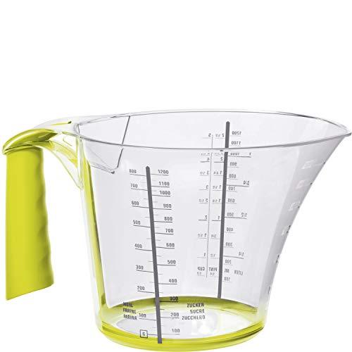 Rotho Loft Messbecher 1.2l mit Softgriff, Antirutschring und Skala, Kunststoff (SAN) BPA-frei, transparent/grün, 1,2l (22,4 x 15,2 x 12,9 cm)