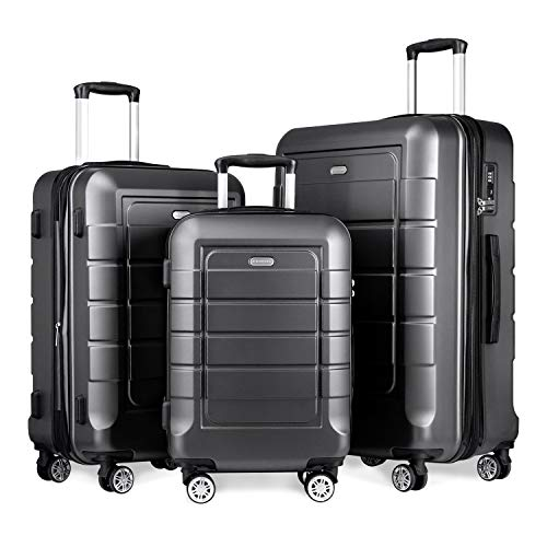 of travelambo luggages SHOWKOO Luggage Sets Expandable Suitcase Double Wheels TSA Lock (Gray)