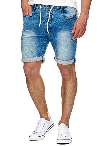 Indicode Caballero Piano Pantalones Cortos con 5 Bolsillos de 82% algodón | Used-Look Shorts Aspecto Vaquero Sweat Pants Washed Destroyed Jeans-Look De Tiempo Libre para Hombres Denim Blue L