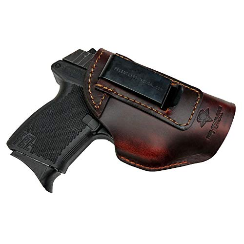 Relentless Tactical he Defender Leather IWB Holster - Made in USA - Fits Glock 42 & 43 | Sig P365 | Ruger LC9, LC9s | Kahr CM9, MK9, P9 | Springfield Hellcat and More - Brown Left Handed