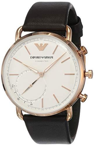 Emporio Armani Herren Hybrid Connected Smartwatch mit Leder Armband ART3029