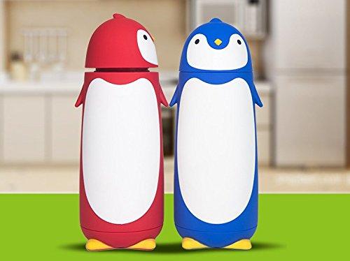 Edelstahl-Thermobecher in niedlichem Pinguin-Design 280ml  blau