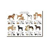 YQQICC Póster de colección de razas de perros de caza cuadro sobre lienzo para pared cuadro nórdico ...