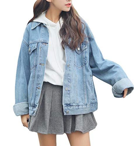 Ankecity Women's Boyfriend Denim Jackets Long Sleeve Loose Jean Coats Oversize…