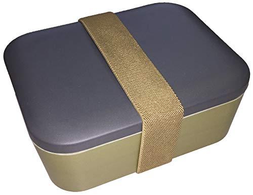 Wildfox Bambus Lunchbox, zweifarbige Brotdose 18x15x9cm (LxBxH) aus nachwachsendem Rohstoff Bambus recyclebar und biologisch abbaubar (anthrazit/grünbeige)