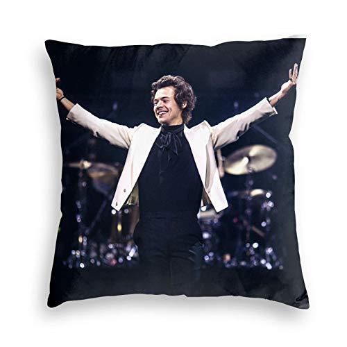 KWELRP Harry Styles Kissenbezug Casual Pillow Case Custom Soft Square Reißverschluss Throw Case Dekorative Kissenhülle (doppelseitig) 45 x 45 cm