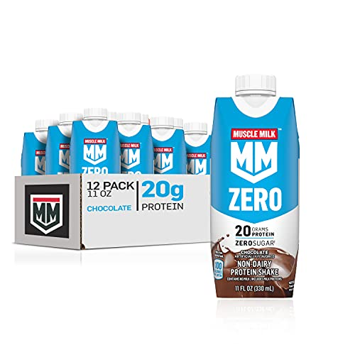 Muscle Milk Zero, 100 Calorie Protein Shake, Chocolate, 20g Protein, 11 Fl Oz, 12 Pack (Packaging May Vary)