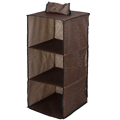 AUNMAS Organizador de Armario Colgante de 3 estantes, estantes Colgantes Plegables, Caja de Almacenamiento de Armario de Lino de imitación Cubby para Ropa, Bolso, Zapatos, marrón, 11.8x11x25.6in