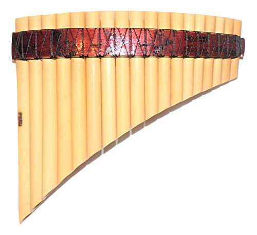Pan Flute Curved 18 Pipes Tunable From Peru -Nazca Lines Design -Item in USA Case Included -