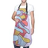 MAYBELOST Ajustable Colgante de Cuello Personalizado Delantal Impermeable,Colorido con setas,Babero de Cocina Vestido para Hombres Mujeres con 2 Bolsillos Centrales