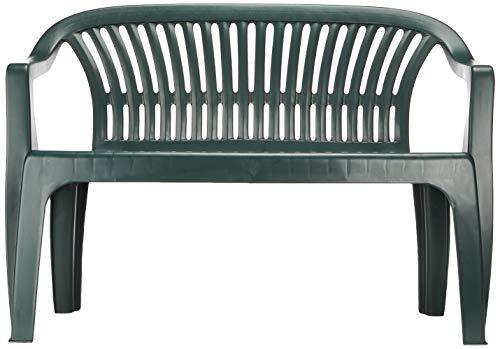 Progarden 47100 Bank Diva, 2-sitzig, 55 x 120 x 88 cm, Vollkunststoffgestell, dunkelgrün - 2