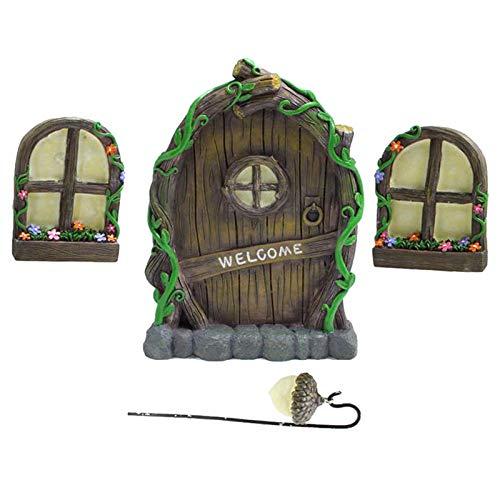 Fenteer Lindo jardín de Hadas en Miniatura con Ventana y Puerta para Elfo hogar para Arte Jardín Escultura mística estatuas decoración para habitación de