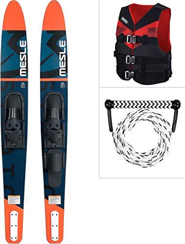 MESLE Wasser-Ski Set Strato 170 cm mit Weste V210 + Leine Combo, Anfänger und Fortgeschrittene Combo-Ski Ausrüstung für Jugendliche und Erwachsene, Farben: blau, Lime, rot, Farbe:rot, Größe:L