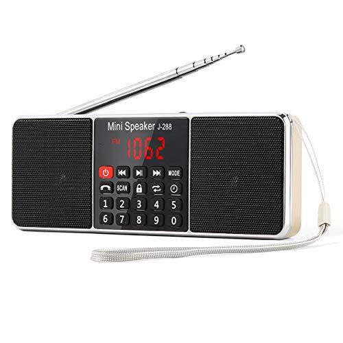 【PSE認証済】Gemean J-288 ポータブル ラジオ ワイド fm am ステレオ 携帯ラジオ bluetooth スピーカー ステレオサウンド、AUXジャック、スリープタイマー機能を備えたロングアンテナラジオ。アウトドアや災害時に対応。ラジオ局を自動的に保存します。