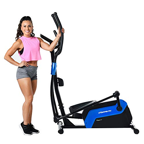Exerpeutic 6000 QF Magnetic Elliptical with Bluetooth MyCloudFitness App, Black and Blue