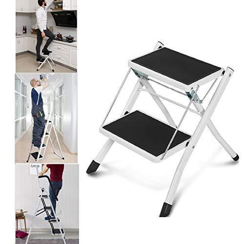 2 Stufenleiter Hochleistungsstahl Trittleiter Klappleitern mit Rutschfester Matte Ideal für Zuhause/Küche/Garage 150 kg maximale Kapazität