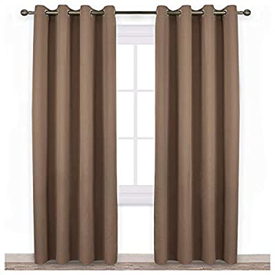 NICETOWN Blackout Draperies Curtains Panels - Window Treatment Thermal Insulated Solid Grommet Blackout Curtains/Panels/Drapes for Bedroom (Set of 2 Panels, 52 by 84 Inch, Cappuccino)