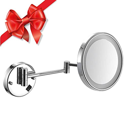 NHLBD LIHAIHAI Beautiful Fashion Vanity Mirror Extendible 180 ° Giratorio, botón de Interruptor, más Maravilloso para Maquillaje cercano, Acabado Cromado (Size : 10x)