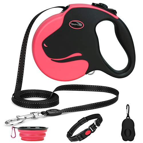 Babyltrl Retractable Dog Leash, 360° Tangle-Free Dog Leashes for Medium and Large Dogs up to 110lbs, 16ft Chew-Proof Reflective Nylon Cord with Anti-Slip Handle, One-Handed Brake, Pause, Lock