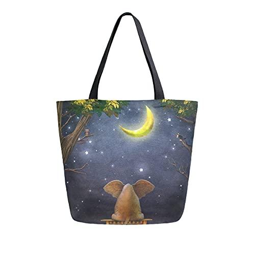 SunsetTrip - Bolsa de lona para mujer, diseño de elefante, estrella de la luna, bolsa de hombro reutilizable grande, bolsa de compras con bolsillo interior