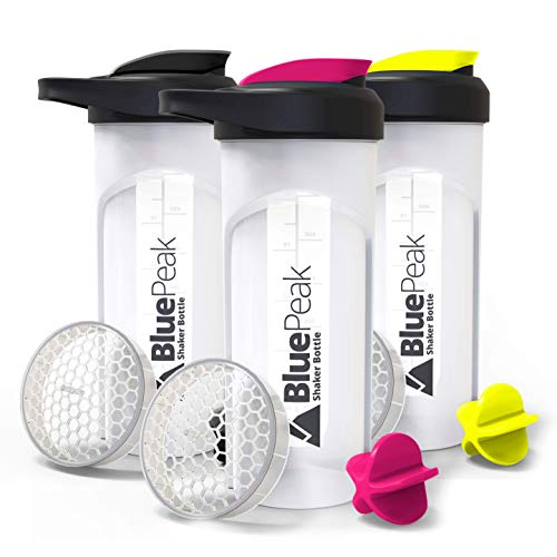 BluePeak Protein Shaker Bottle 28-Ounce, 3-Pack, with Dual Mixing Technology. BPA Free, Shaker Balls & Mixing Grids Included (Black, Yellow & Pink)