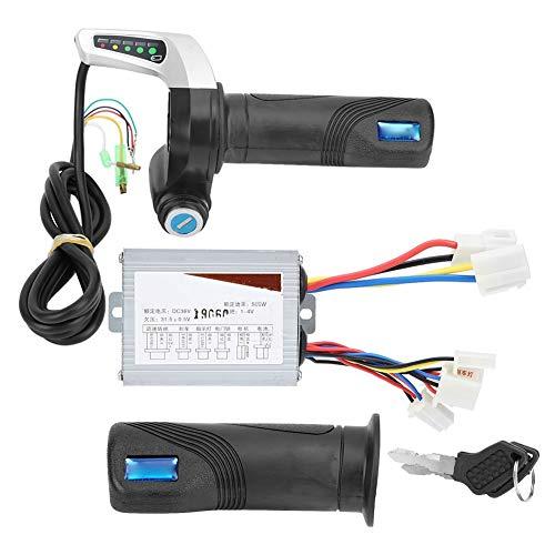 Outbit Scooter Motor Controller - 36V 500W elektrisches Fahrrad Motorroller Brushed Drehzahlregler-LED mit Lock-Gasgriff Kit