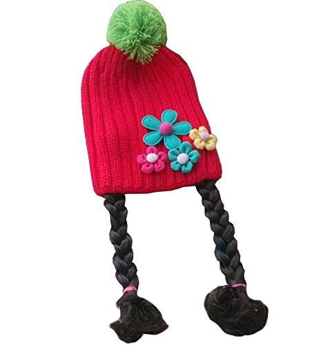 Cute Girl bébé Bonnet enfants Cap avec des fleurs rouges Tresses