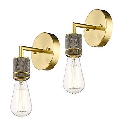 1-Light Bathroom Vanity Light Set of 2, AKEZON Vintage Industrial Indoor Wall Sconces Lighting Fixture, Brushed Brass Wall Mount Lamp, KW7222