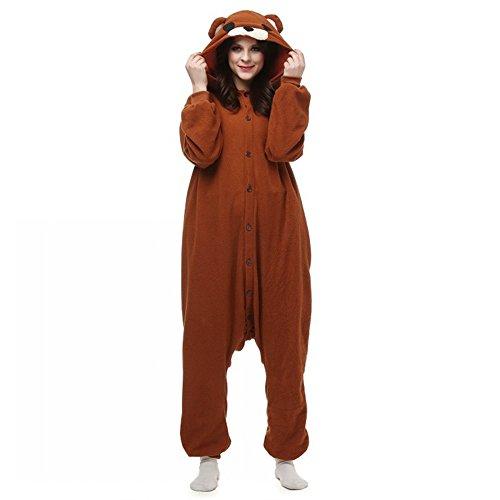 dressfan Pijamas de Animales Disfraces de Animales Oso Traje de Cosplay Pijamas de Oso de Café Niño Adulto