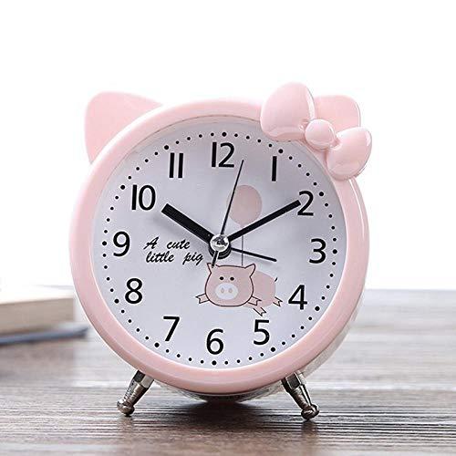JLCK Silent Alarm Clocks Bedside Non Ticking Table Clocks Battery Powered Travel Clock Loud Alarm Large Display The Best Gift for Children-Pink