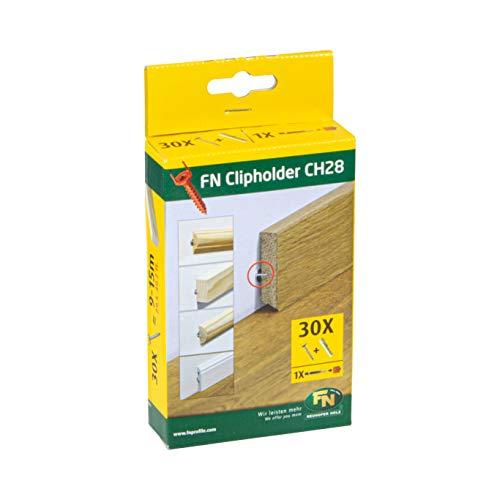 Gedotec nailofix CH28 Clipholder Befestigungsclips für Sockelleisten mit Kabelkanal - NH10003 | Unsichtbare Winkel-Befestigung | 1 Packung mit 30 Stück Montage-Schrauben & Dübel für Leisten-Clips