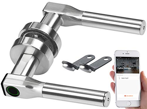 VisorTech Türgriff: Sicherheits-Türbeschlag, Fingerabdruck, Transponder, App, DIN rechts (Türschlösser)