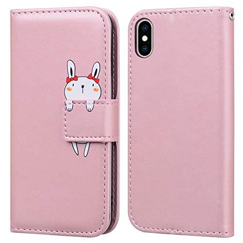 Funda iPhone X/XS, Ailisi Rabbit Cartoon Diseño de Animales Pink Billetera Carcasa Protectora de Cuero PU con Cierre magnético, Función de Soporte, Ranuras para Tarjetas -Conejito, Rosa