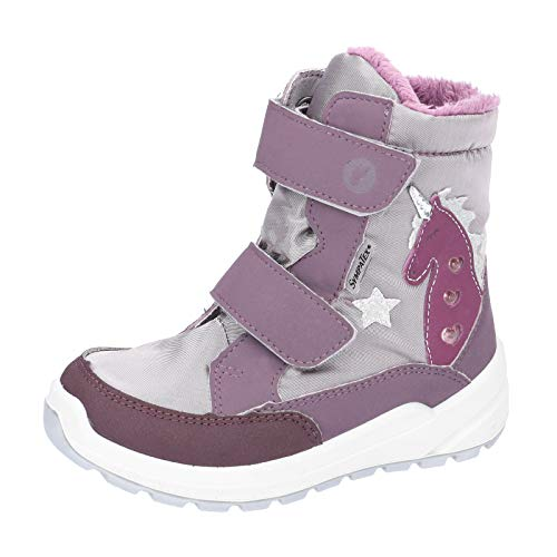 RICOSTA Kinder Stiefel Annika, Weite: Mittel (WMS),wasserfest,Blinklicht, detailreich Boots Klett-Stiefel,dolcetto/Purple,30 EU / 11.5 Child UK