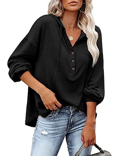 HESUUIO Damen Pullover Hoodie V-Ausschnitt Kapuzenpullover Damen Knopfleiste Ausschnitt Langarm Pullover Sweatshirt mit Kapuze Lose Casual Oberteil Tops