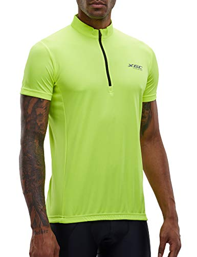 Men's Short/Long Sleeve Cycling Jersey Bike Jerseys Cycle Biking Shirt with Quick Dry Breathable Fabric (Green/Short, XXXL)