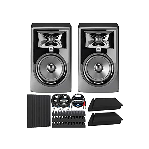 """JBL Professional 305P MkII Next-Generation Studio Monitors (2-pk) Bundle with Blucoil 12"""" Acoustic Wedges (4-pk), 10' XLR Cables (2-pk), 5' TRS to TS Stereo Breakout Cable, and Isolation Pads (2-pk)"""